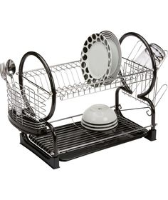 simplehuman steel frame large dish drainer rack silver. Black Bedroom Furniture Sets. Home Design Ideas