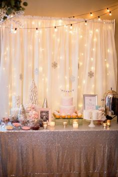 Winter Wonderland Party Table from a Winter ONEderland First Birthday Party on Kara's Party Ideas | KarasPartyIdeas.com (11)