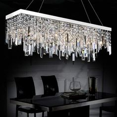Rectangular Crystal Chandelier With Linear Design - Dining R.- Rectangular Crystal Chandelier With Linear Design – Dining Room - Dining Chandelier, Dining Room Lighting, Rustic Lighting, Modern Chandelier, Lighting Design, Modern Lighting, Luxury Lighting, Lighting Ideas, Bathroom Chandelier