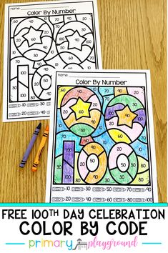 Free Day Celebration Color By Code Celebrate the day of school with this fun freebie! Your students will practice counting by by coloring the picture to celebrate the day! 100 Days Of School Centers, 100th Day Of School Crafts, 100 Day Of School Project, School Gifts, First Day Of School, School Projects, Pre School, School Ideas, Kindergarten Activities