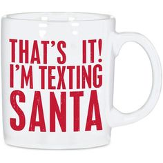 Primitives By Kathy Texting Santa Mug ($12) ❤ liked on Polyvore featuring home, kitchen & dining, drinkware, no color, christmas drinkware, primitives by kathy, christmas mugs, santa mugs and chocolate mug