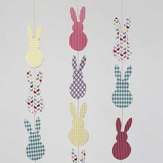 Eggs cut out from Color Bar card with double-sided print. Three or four pieces of card are stapled together with a stapler and a piece of coloured elastic beading cord is used for hanging. Creative Activities, Activities For Kids, Bar Card, Clear Glue, Bunting, Easter Bunny, Diy And Crafts, Diy Projects, Colours