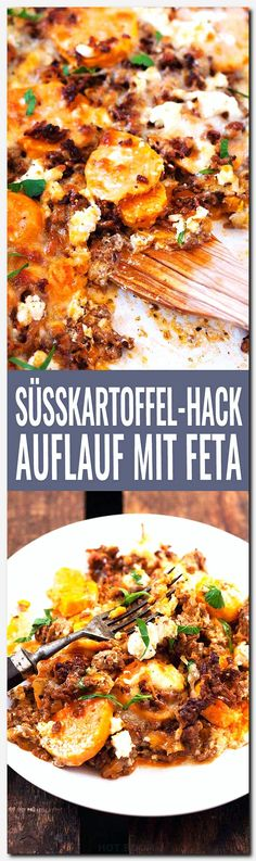 Süßkartoffel-Hackfleisch-Auflauf mit Feta – Kochkarussell Sweet potato mince bake with feta. This recipe is simple and SO delicious – Beef Recipes, Chicken Recipes, Cooking Recipes, Healthy Recipes, Budget Cooking, Potato Recipes, Pasta A La Carbonara, Carne Picada, Eat Smart