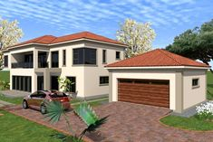 Overall Dimensions- 2 Car GarageArea- Square metres Dream Homes, My Dream Home, House Plans South Africa, African House, Building Costs, Home Collections, All Design, My House, Architecture Design