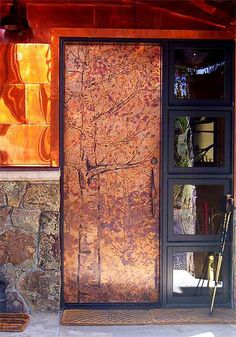 copper door with tree print by StarMeKitten Door Entryway, Entry Doors, Garage Doors, Copper Wood, Copper Beech, Metal Gates, Metal Doors, All About Doors, Colorado Cabins