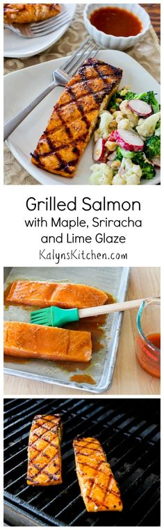 Grilled Salmon with Maple, Sriracha, and Lime Glaze would be impressive to make for guests for any summer holiday party, or just make it as a healthy #LowCarb and #GlutenFree main dish any time you feel like breaking out the grill.  [from KalynsKitchen.com]
