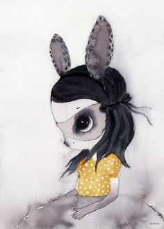 Different... Adorable! Even intriguing... Is it a bunny? Is it a little girl? #cutegirlbedroomart #nurseryart | Mrs Mighetto 'Poster Miss Lola'