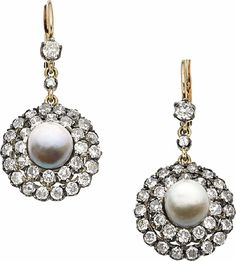 Antique Natural Pearl, Diamond, Silver-Topped Gold Earrings