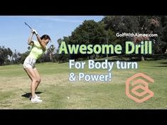 [Golf with Aimee] Awesome Drill for Proper Body Turn for Power! - YouTube
