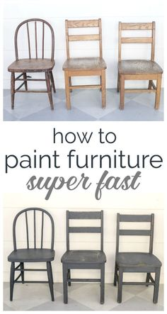 Ideas For Diy Kitchen Table Redo Spray Painting Wood Furniture Kitchen Chair Makeover, Wooden Chair Makeover, Furniture Makeover, Diy Furniture, Furniture Stores, Decoupage Furniture, Furniture Chairs, Furniture Design, Furniture Projects