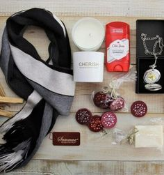 "Father's Day Gift Hamper - $29.95 ""Warm his Heart"". This gift box is perfect for the Aussie dad who has a bit of a sweet tooth and likes to rug up!  It includes a scarf,  'Cherish' candle, chocolate discs with an ""I love you"" antique silver charm, Original Old Spice Deodorant stick,  Tilley's Soap, a boxed silver filigree Men's pocket Watch. Sending lots of love for a unbelievable price."