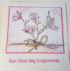 Card created by Carla de Graaff with CraftEmotions clearstamp Magnolia Spring Time ( 130501/1249)