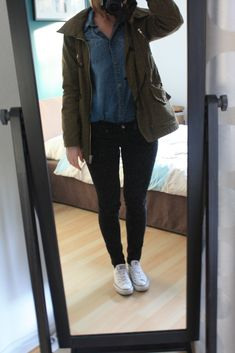 Chambray Parka Outfit - Casual but chic