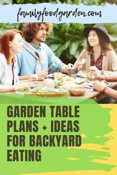 Here are the garden table plans and ideas for backyard eating. Eating outside has many benefits like enjoying the fresh air and eating around your plants. It's also easy to harvest some fresh veggies and prepare a healthy garden salad. Grab some fresh mint for your drinks and some flowers for the table and voila! Eating in paradise! Check this pin for more garden table and ideas! #gardentabledesign #gardentableideas #backyardeating