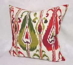 Ikat Pillow Cover in Red and Green Fabric by PillowLoftHomeDecor, $49.99