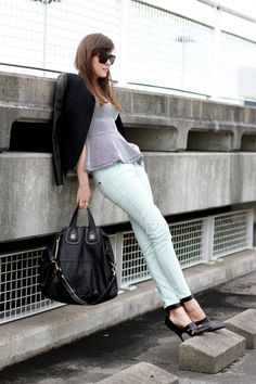 Mint jeans: ZARA  Top: H  Jacket: Helmut Lang  Shoes: Alexander Wang  Bag: Givenchy  Sunnies: H