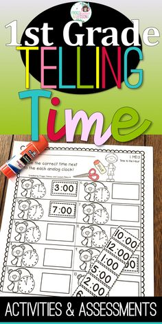 Telling Time activities and worksheets for first grade students. Great to use in math centers, morning work, an to include in your math reviews and daily warm-ups! FREE PRINTABLE SAMPLE available on my website! Check the preview to download FREE WORKSHEETS!