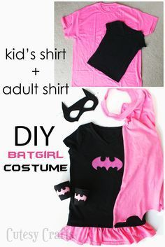 DIY Batgirl Costume from a Kid's Shirt and Adult Shirt