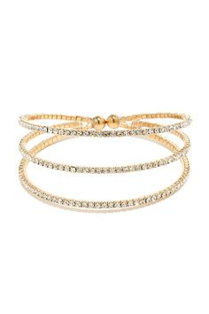 Bedazzled By You Gold Rhinestone Bracelet at Lulus.com!