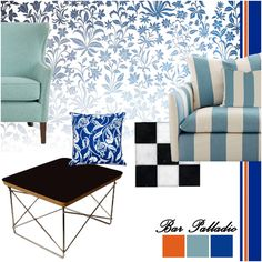 Bar Palladio also features elements that fit a contemporary decor style. To replicate these in your home, consider mix-and-match furniture, like this striped sofa, with club chairs in soft blue. Complement this setting with a few cushions in floral prints - places like Gulmohar Lane and Goodearth have some great options. The black and gold table is another perfect addition to this luxurious contemporary setting. Read our blog to shop this moodboard!