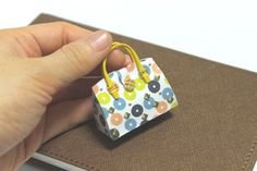 Colorful Dot handbag Designer Artisan handmade Artist miniature purse for dollhouse / doll. $25.89, via Etsy.
