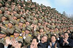 North Korean leader Kim Jong-un gets an enthusiastic welcome at the defence ministry in Pyongyang. Photograph: KNS/AF