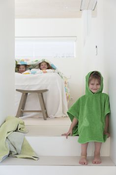 The cheerfully green Sepi hooded bath cloak is great for small bathers and swimmers. Can be machine washed at Cloak, Bean Bag Chair, Hoods, Textiles, Swimmers, Cotton, Bathroom, Green, Dress