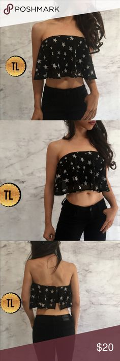 """Stars sheer ruffle flowy strapless zipper tube top •brand new  •ships tomorrow •brand : TIMELESS look boutique  •no trades  •true to size bust: xs:30 sm:32a-c / md 34-36c • super cute!  Lovely to pair with a maxi skirt for an activity,  w boyfriend jeans for a cool instagram or street style look or high waist skirt for a hot night outfit   Model: goguios in insta 📸 (account manager) modeling XS  Please visit """"Closet Rules"""" for more info about us :) Tops Crop Tops"""