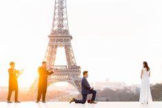 Paris surprise proposal: the most incredible Eiffel Tower proposal ever! Romantic Proposal, Romantic Surprise, Surprise Proposal, Proposal Ideas, Romantic Paris, Most Romantic, Paris Couple, Proposal Photographer, Marriage Proposals