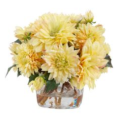 Create a lush tablescape or charming vignette with this lovely golden yellow faux dahlia arrangement by New Growth Designs, nestled in a glass vase.
