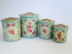 Mid Century Holland Nesting Tin Canister Set  /  Vintage Floral Nesting Kitchen Tins  /  Lithograph Embossed Storage Tins - pinned by pin4etsy.com