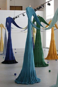 "Olga Boldyreff ~ ""Les Traversées"" installation, collection of the Calais… Fashion Installation, Artistic Installation, Instalation Art, Art Textile, Textiles, T Art, Wearable Art, Fiber Art, Art Museum"