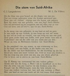 Die Stem van Suid Afrika - Old South African National Anthom. Afrikaans Language, Union Of South Africa, Afrikaanse Quotes, Pretoria, My Land, African History, Qoutes, Poems, Van