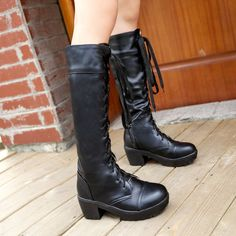 2013 Cosplay lace up thigh high thick heel white platform leather ridding boots for women martin shoes plus size 34-43 SHB33039
