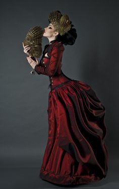 Owl's Wings #goth #victorian #gothic #gown #fashion #dress #red #corset #bustle #womens #woman