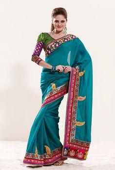 Teal-Silk-Saree  #Indian #Silk #Saree