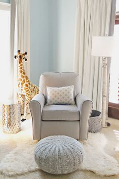 Comfortable Rocking Chairs for Baby Room : Foxy Image Of Baby Nursery Room Decoration Using Upholstered Light Gray Rocking Chairs For Baby Room Including Soft Light Blue Baby Room Wall Paint And Brown Tall Giraffe Dolls For Baby Room Baby Bedroom, Baby Boy Rooms, Baby Boy Nurseries, Nursery Room, Girl Nursery, Giraffe Nursery, Modern Nurseries, Nursery Decor, Bedroom Decor