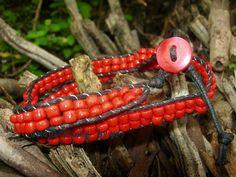 handmade #bracelet : wrap bracelet - synthetic leather / seed bead
