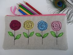 Handmade Pencil Case or Cosmetic Bag, linen, flower applique, waterproof lining