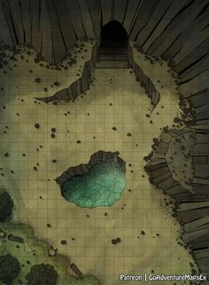 interesting battle mat with difficult terrain for DnD / Pathfinder Dnd World Map, Fantasy World Map, Fantasy Places, Dungeons And Dragons Homebrew, D&d Dungeons And Dragons, Cave Entrance, Rpg Map, Dnd Monsters, Dungeon Maps