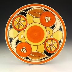 Clarice Cliff - Newport Pottery - Sliced Fruit Pattern Cake Plate - Art Deco!