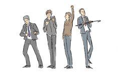 Lestrade, Sherlock, John, and Mycroft dance it out (gif). Love love love these :)
