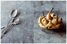 Pear Tart with Spoons and Fork: Photos by John Laurie - food styling by Simon Bajada