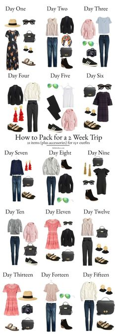 A Complete Europe Packing List - How to transform 21 articles of clothing into different outfits! packing A Complete Europe Packing List - What You Need for 2 Weeks in Europe Travel Outfit Spring, Europe Travel Outfits, Packing For Europe, Packing List For Travel, Summer Outfits, Travel Europe, Paris Packing, Ireland Travel, Traveling Outfits