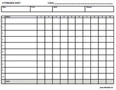 This is an image of Geeky Free Printable Attendance Sheets for Teachers