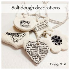 Hand stamped salt dough decorations and gift tags Christmas