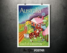 1948 Australia - land of tomorrow - Emigration Poster by Joe Greenberg - Vintage Poster // High Quality Fine Art Reproduction Giclée Print by TheRetroPoster on Etsy