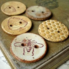 The Bee Keeper buttons- ceramic assortment by Kylie Parry. I swoon for these, but know of no practical use I'd have for them!