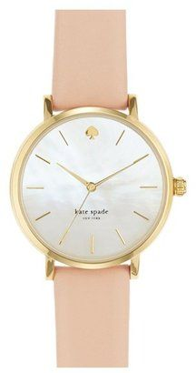Kate Spade New York 'metro' Round Leather Strap Watch, Slim stick indexes round an opalescent mother-of-pearl dial to display three-hand time on a classic gold-plated watch. A finely textured leather strap makes an elegant finish. Ring Armband, How To Have Style, Kate Spade Watch, Jewelry Accessories, Fashion Accessories, Watch Accessories, Fashion Shoes, Looks Style, Mode Style