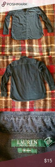 Ralph Lauren women's denim Dark blue Ralph Lauren denim long sleeve shirt, like new,great condition Ralph Lauren Tops Button Down Shirts